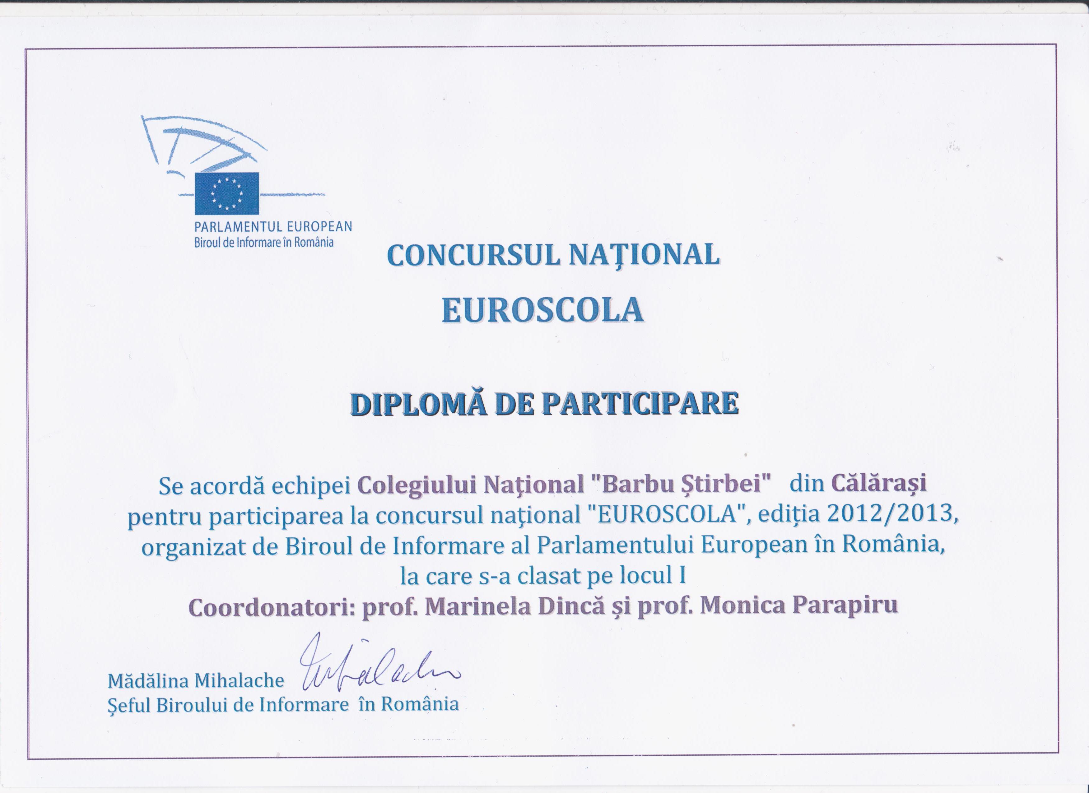 Diploma Euroscola 2012-2013